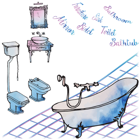 Furniture, plumbing, toilet, bidet, mirror and washbasin luxurious classic rich for the bathroom - a sketch in black vector lines and watercolor spots, careless, white background, bath, washbasin, mirror and tile, letters