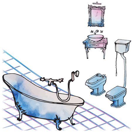 Luxurious classical furniture rich for a bathroom - a sketch in black vector lines and watercolor spots, careless, on a white background, bath, washbasin, mirror and tile  イラスト・ベクター素材