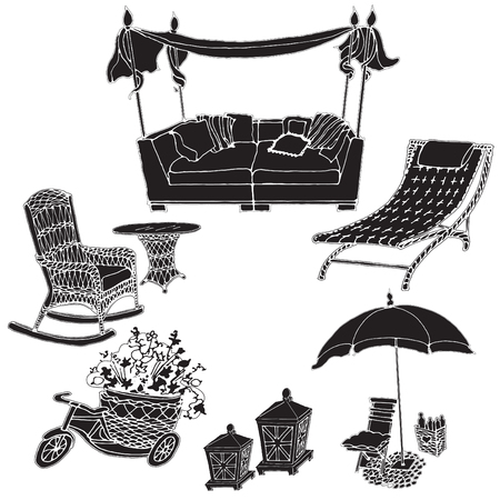 Silhouette black on a white background in a vector- furniture for a garden, picnic, street, sofa cozy, umbrella, armchair, exterior courtyard, sketch  イラスト・ベクター素材