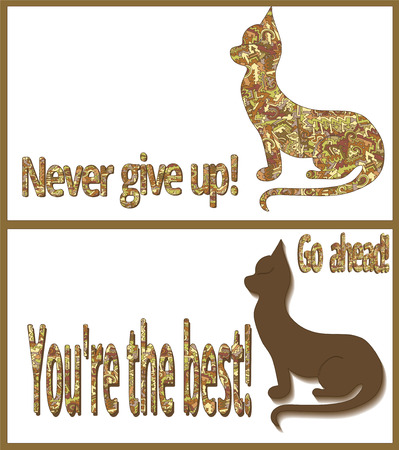 Two cards with cat silhouettes and the inscription never give up, go ahead, youre the best ... Vector on white background pattern of arrows, curls and lines intertwined, brown, red, yellow vint