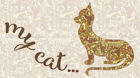 Silhouette of a cat and the inscription of my cat. Vector card on a background of a pattern of arrows, curls and lines intertwined, brown, red, yellow , vintage stylization  イラスト・ベクター素材