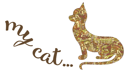 Silhouette of a cat and the inscription of my cat ... Vector  card on a white background of a pattern of arrows, curls and lines intertwined, brown, red, yellow Vintage stylization  イラスト・ベクター素材
