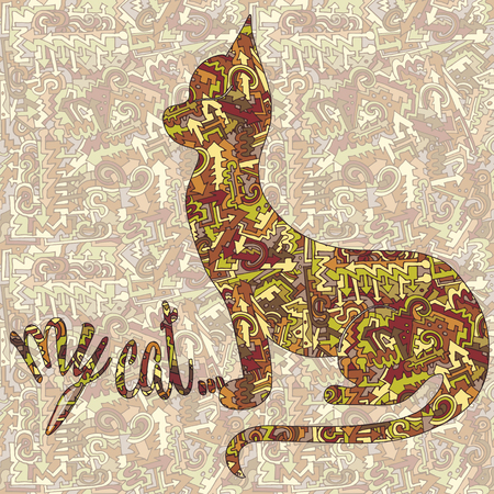Silhouette of a cat and the inscription of my cat ... Vector against the backdrop of a pattern of arrows, curls and lines intertwined, brown, red, yellow vintage stylization 70s