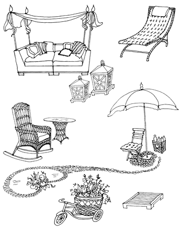 sketch of a set of furniture and decor for the garden, black and white