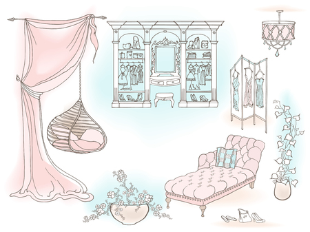 A gentle female room, a dream, a boudoir with a hanging chair and a dressing room, a set of furniture a sketch in lines with spots like watercolor  イラスト・ベクター素材