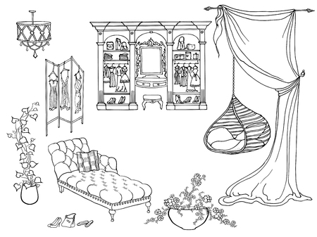 Fashionable dressing room dream woman, cabinet, hanging chair, plants, screen with clothes, shoes, dresses, drawn black lines on a white background vector