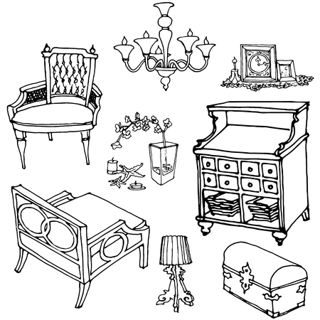 sketch of a set of furniture and decor  イラスト・ベクター素材