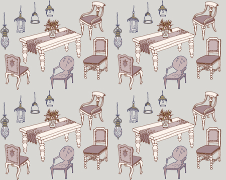 dining room furniture, classic, sketch