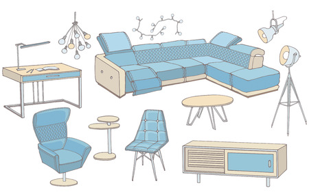sketch of a set of furniture for the living room in the loft ,  workplace, corner sofa, table, color blue, doodle