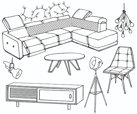 sketch of a set of furniture for the living room in the loft , big quilted corner sofa,