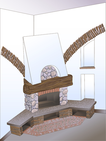 vector sketch interior decor corner of rural provincial cozy living room with fireplace, lined with brick and stone, with dark wood and white wall with niches