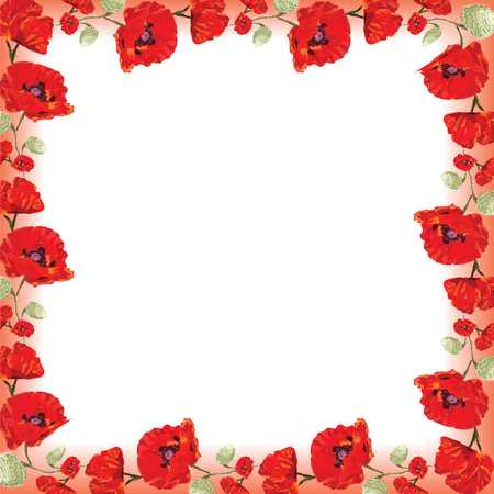 Square frame with red poppies, vector on white background, military memory