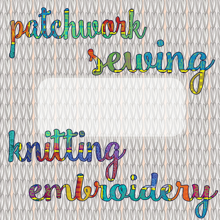 decor pattern cloth with an inscription in the style of patchwork embroidery, knitting, sewing - handwork craft goods for advertising products