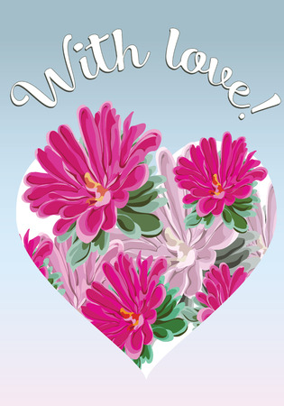 bouquet of pink chrysanthemums and a heart on a postcard with the words With love for your beloved on February 14, vector