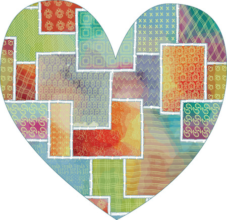 heart shape pattern for February 14th, love and handmade embroidery; patchwork