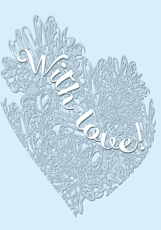 gentle inscription With Love on a background of blue hearts of flowers and snow, vector  イラスト・ベクター素材