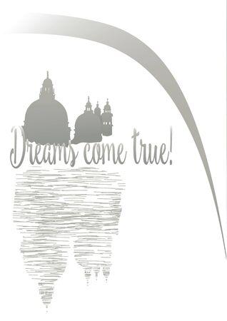 hand drawn card Dreams cone true illustration Иллюстрация