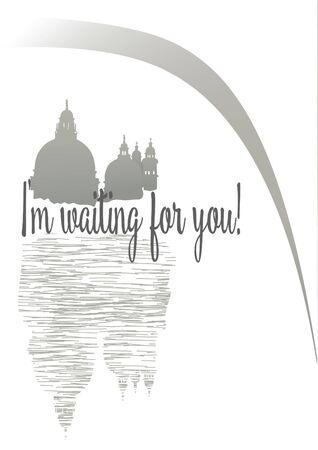 illustration Venice, Cathedral, inspiration - I m waiting hand drawn
