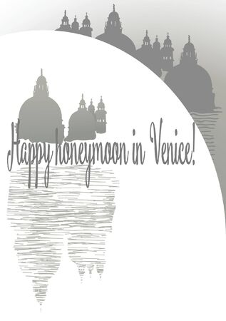 Wedding card with silhouette of Venice Cathedral, stylized bridge, reflection in water and the inscription Happy Honeymoon in Venice  イラスト・ベクター素材