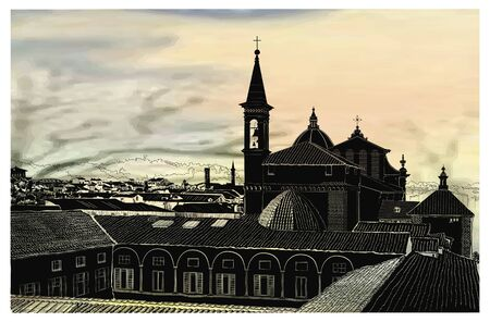 Panoramic view of the city of Flores, churches, roofs, windows, trees, mountain views