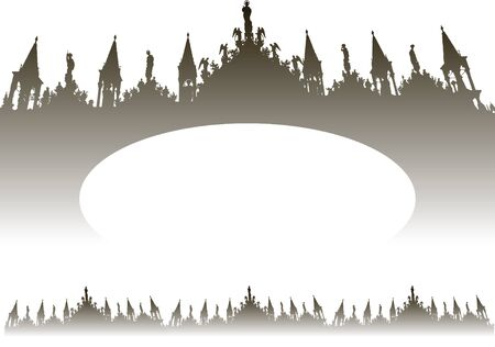 Frame for text with the silhouette of the Venice Cathedral San Marco vector, gradient, elegant for menu or invitation