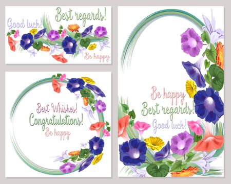 A set of patterns for a card with the wishes of the best regards, good luck, be happy, congratulations, a garland of bright colors.