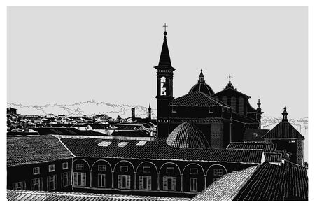 Panoramic view of Florence vector silhouette black and white, Italian old city, churches, roofs, windows, trees, mountain views