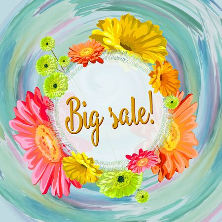 Big sale- advertising, congratulations card with gerberas and spring background bright watercolor stains, in the center a circle for the inscription