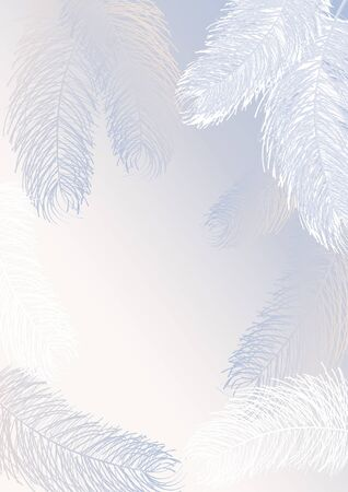 Greeting card or advertisement transparent- in the frame of the window is a delicate fluff of angel wings, white feathers on a blue and pink background with a place for inscription