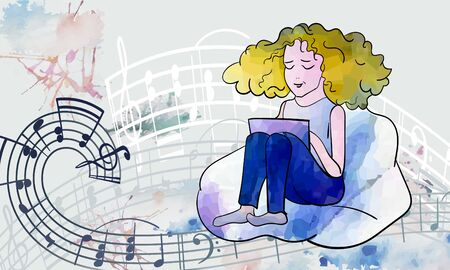 Vector sketch, girl sitting in a bag-chair, with a laptop on her lap, composing poetry or music, on the background around notes, watercolor stains- creativity, fun