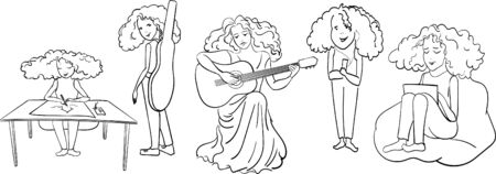 A set of sketches - a girl from ink lines on a white background sits at a table and draws, hears music, plays the guitar sits on a bag at a laptop - creativity, sheet music, fun
