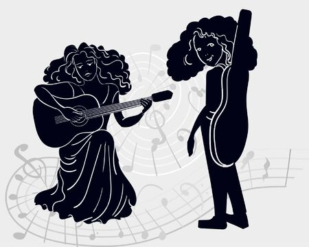 Vector silhouette of two girls, one plays the guitar and the other carries in a case, turned around. Against the background of a set of musical notes, gray and black. composing music - creativity, fun