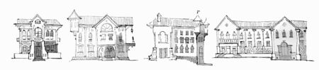 Sketch in gray tones - set of four classic low city houses, facades with attics, turrets, columns, ancient architecture 일러스트