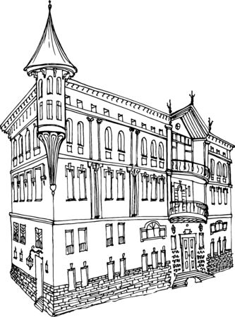 Sketch in black lines a three-story classic-style house with a turret, a balcony, a rust, a corner facade, a casual sketch of an old urban environment