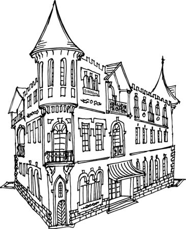 Old town classical house with a turret and a balcony, in a classical style, a sketch in lines on a white background, architecture