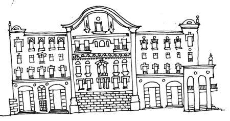 Sketch in lines on a white background old town house in classical architecture, street facade