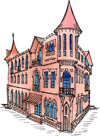 Doodle drawn vintage classic city house with turrets and columns, watercolor and ink lines in vector