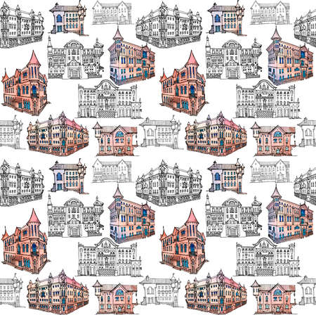 Seamless pattern of outline in lines and colored spots watercolor on a white background. Vintage city houses in classical architecture, diverse for travel