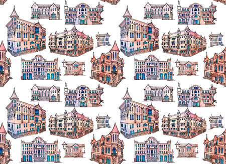 Seamless pattern. Doodle painted vintage classic facade of a city house, in watercolor and ink lines in vector, house with an attic and a portico. 스톡 콘텐츠