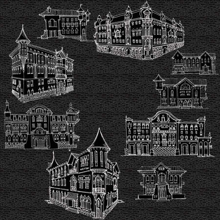 Sketch in lines on a dark background, brick, old town house in classical architecture, street facade, entrance, set of doodles in lines vector