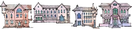 Set of sketches of several fictional houses in the old city style with balconies, arches, turrets and columns, in color