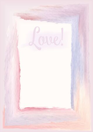 Text Love in a frame of delicate watercolor stains, pink and lilac, congratulations on Valentine's Day, from a lover, February 14