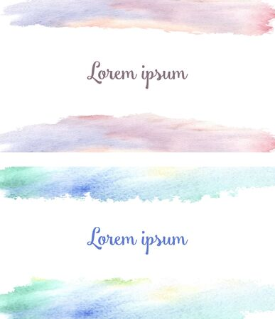 Background for two paired business cards - watercolor spots pink-lilac yellow and green-blue, like dawn and sky in spring and the text Lorem ipsum text