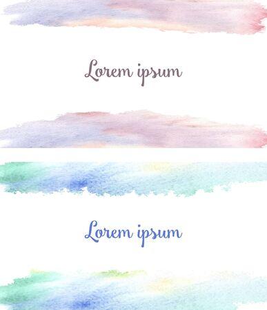 Sfondo per due biglietti da visita abbinati: macchie acquerellate rosa-lilla gialle e verdi-blu, come l'alba e il cielo in primavera e il testo Lorem ipsum text