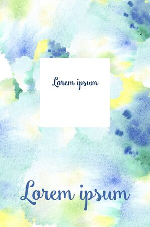 Postcard - watercolor stains spring green, blue, yellow spots like foliage and sky in spring and text Lorem ipsum text