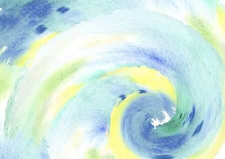 Background from watercolor green, blue, yellow spots, abstract spiral composition- spring, greenery, sun and sea