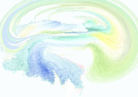 Abstract composition-  watercolor  background, spiral, wave, will tighten the vortex of the green, blue, yellow solar funnel- abstract composition