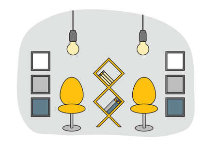 Workspace in outline style. Interior design in vector. Grey, yellow and blue color room