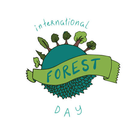 International forest day card in vector. Hand drawn illustration