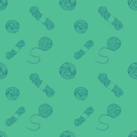 Green Seamless pattern with yarn balls Illustration